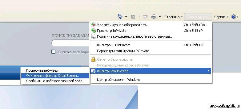 Настройка Internet Explorer 8 для работы на сайте zakupki.gov.ru