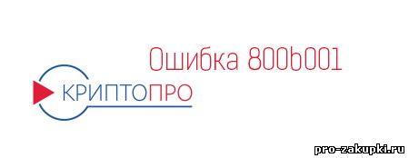 Ошибка 800b001